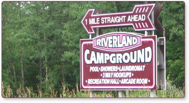 Riverland Campground and R.V. Park Road Sign